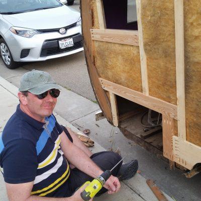 Mike installing Kregg screws.